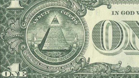 US one dollar bill, reverse, series 2009 closeup